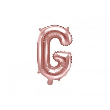 """Balon foliowy różowe złoto 35cm litera """"G"""""""