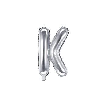 """Balon foliowy srebrny 35cm litera """"K"""""""