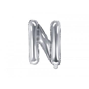 "Balon foliowy srebrny 35cm litera ""N"""