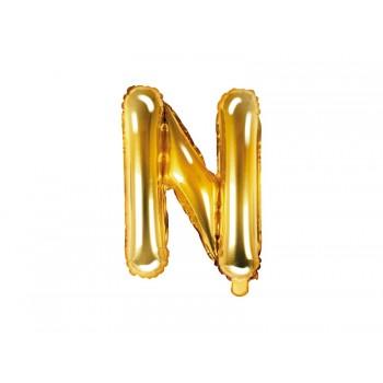 """Balon foliowy złoty 35cm litera """"N"""""""