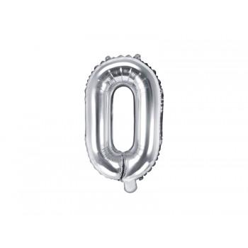 "Balon foliowy srebrny 35cm litera ""O"""