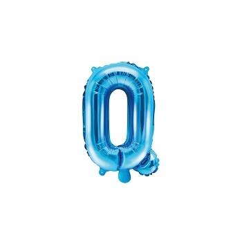 """Balon foliowy niebieski 35cm litera """"Q"""""""