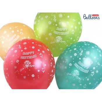 Balony 30cm Happy Birthday Metaliczne