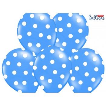 Balony 30cm Kropki Niebieski - 6szt