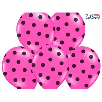 Balony 30cm Kropki Różowy - 6szt