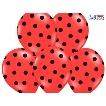 Balony 30cm Kropki Czerwony - 6szt