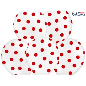 Balony 30cm Kropki Biały - 6szt