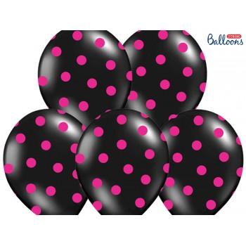 Balony 30cm Kropki Czarny - 6szt