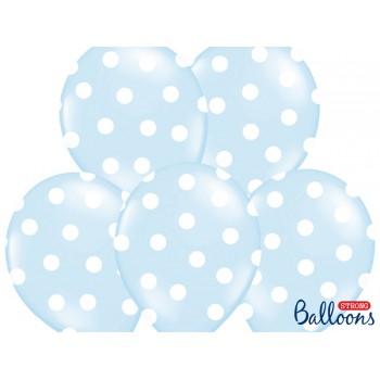 Balony 30cm Kropki Błękitny - 6szt