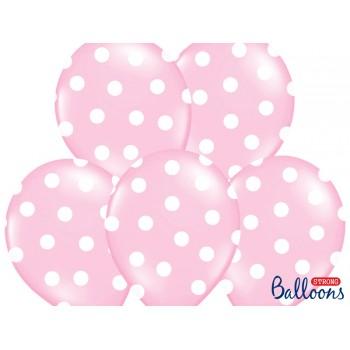 Balony 30cm Kropki Jasny róż - 6szt