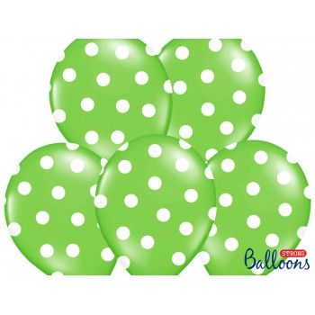 Balony 30cm Kropki Zielony - 6szt