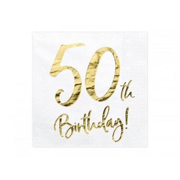 Serwetki 50th Birthday 33x33cm