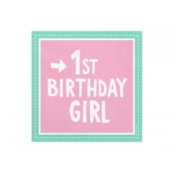 Serwetki 1st Birthday Girl 33x33 cm