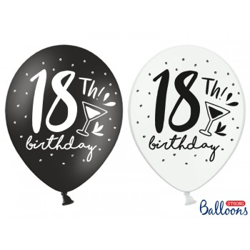 Balony 30cm 18th! birthday - 6szt