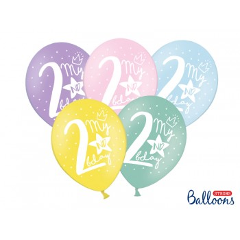 Balony 30cm My 2 nd bday - 5szt