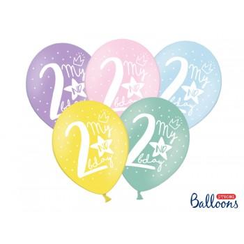 Balony 30cm My 2 nd bday - 5szt
