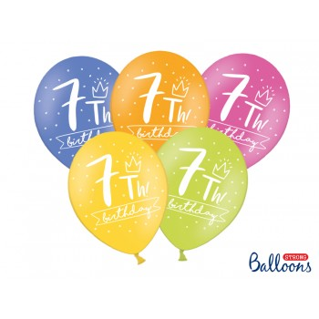 Balony 30cm My 7 th bday - 5szt