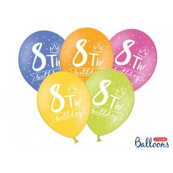 Balony 30cm My 8 th bday - 5szt