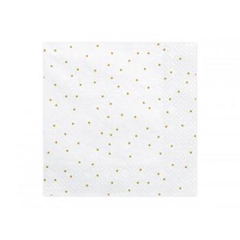 Serwetki w złote kropki kropeczki 33x33 cm