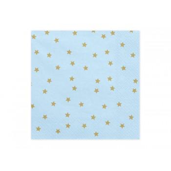 Serwetki Gwiazdki jasny błękit 33x33cm