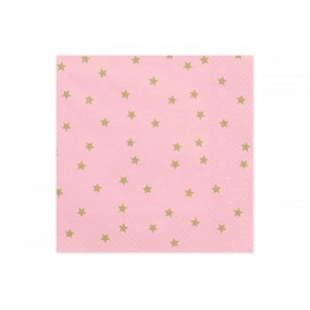 Serwetki Gwiazdki jasny różowy 33x33cm