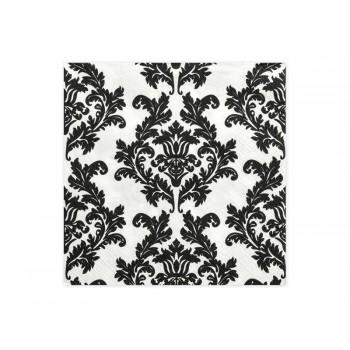 Serwetki biały/czarny 33 x 33cm