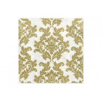 Serwetki biały/złoty 33 x 33cm