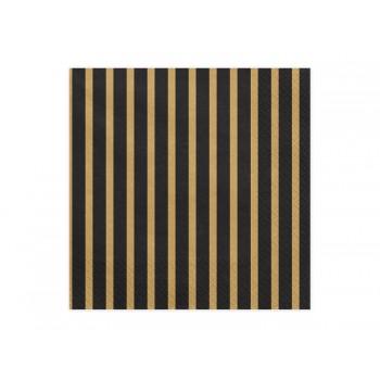Serwetki Paski złoty 33x33 cm