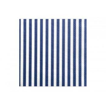 Serwetki Paski niebieski 33x33 cm