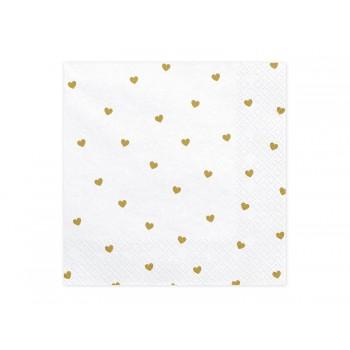 Serwetki Serca biały 33x33cm