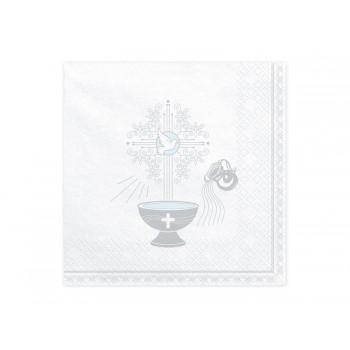 Serwetki Chrzest Święty srebrny 33x33cm