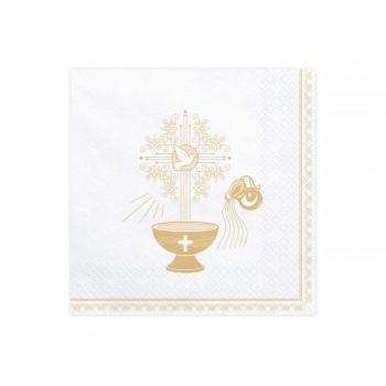 Serwetki Chrzest Święty złoty 33x33cm