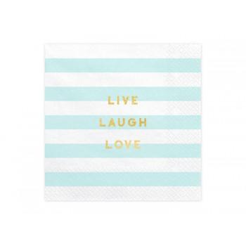 Serwetki Yummy - Live Laugh Love jasny niebieski 33x33cm