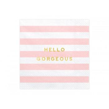 Serwetki Yummy - Hello Gorgeous jasny różowy 33x33cm