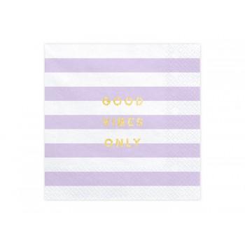 Serwetki Yummy - Good vibes only jasny liliowy 33x33cm