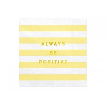 Serwetki Yummy - Always be positive jasny żółty 33x33cm