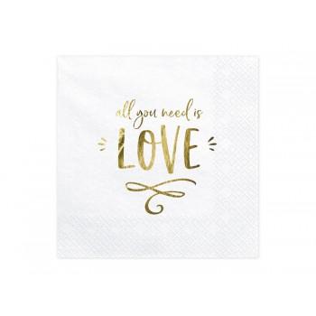 Serwetki - All you need is love biały 33x33cm