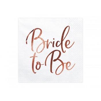 Serwetki Bride to Be różowe złoto 33x33cm
