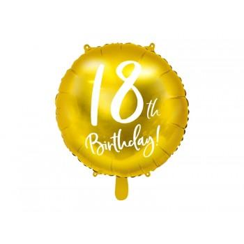 Balon foliowy metalizowany złoty 18 urodziny 45cm