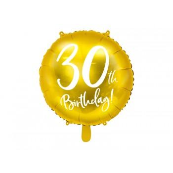 Balon foliowy metalizowany złoty 30 urodziny 45cm