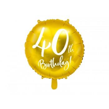 Balon foliowy metalizowany złoty 40 urodziny 45cm