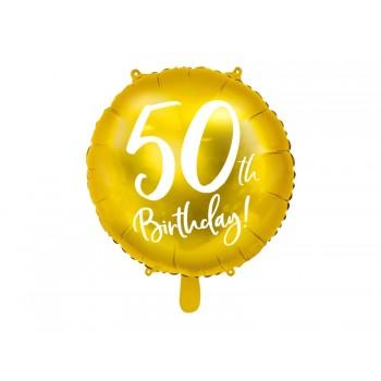Balon foliowy metalizowany złoty 50 urodziny 45cm