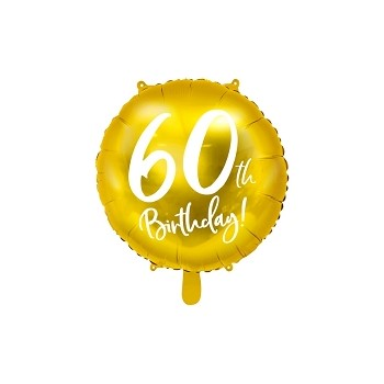 Balon foliowy metalizowany złoty 60 urodziny 45cm