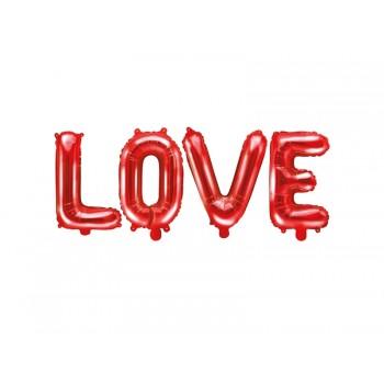 Balon foliowy metalizowany czerwony love 140x35cm