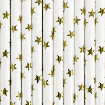 Słomki papierowe gwiazdki 10szt - 19,5cm