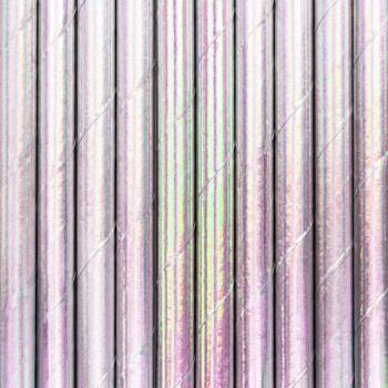 Słomki opalizujące holo 10szt - 19,5cm