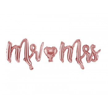 Balon foliowy metalizowany różowe złoto Mr&Mrs 69x125cm