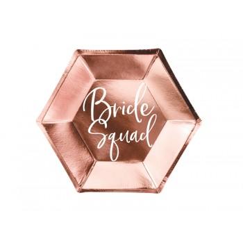 Talerzyki 6szt Bride squad różowe złoto 23cm