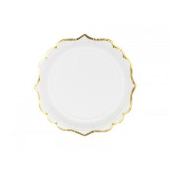 Talerzyki 6szt biały ze złotymi brzegami 18,5 cm