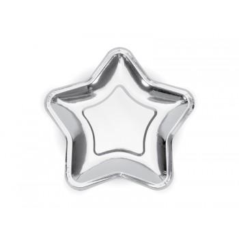 Talerzyki 6szt Gwiazdka srebrny 23cm